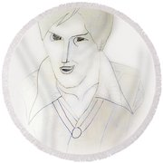 Minimalism - Young Man Round Beach Towel
