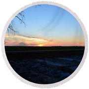 Minnesota Sunset 15 Round Beach Towel