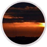 Minnesota Sunset 6 Round Beach Towel