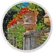 Mirabell Gardens In Salzburg Hdr Round Beach Towel by Mary Machare