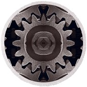 Mirror Gears Round Beach Towel by Steve Gadomski