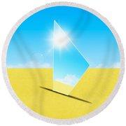 Mirror On Sand In Blue Sky Round Beach Towel