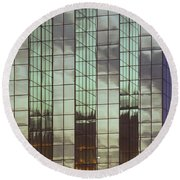 Mirrored Building Round Beach Towel