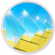 Mirrors On Sand In Blue Sky Round Beach Towel