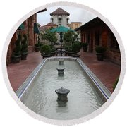 Mission Inn Roof Top Pond Round Beach Towel
