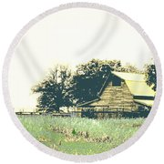 Mississippi Farm Old Highway 61  Round Beach Towel