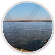 Mississippi River View Round Beach Towel
