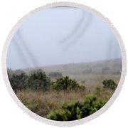 Mists Between The Hills Round Beach Towel