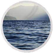 Misty Alpine Lake With Mountains Round Beach Towel