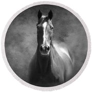 Misty In The Moonlight Bw Round Beach Towel