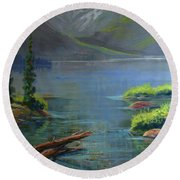 Misty Lake Round Beach Towel