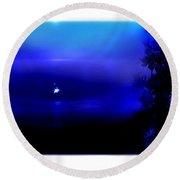 Misty Mangrove Moon Reflection Round Beach Towel