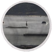 Misty Morning At Lake Wilhelmina Round Beach Towel by Douglas Barnard