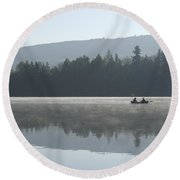 Misty Morning Fishing Round Beach Towel