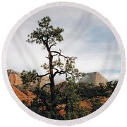 Misty Morning In Zion Canyon Round Beach Towel