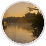 Misty Morning On The Grand Union Canal Round Beach Towel