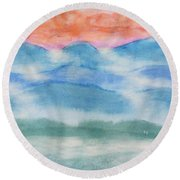 Misty Morning On Blue Hills Round Beach Towel