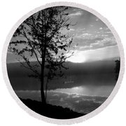 Misty Reflections Bw Round Beach Towel