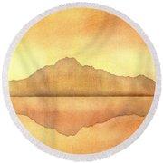 Misty Sunset Round Beach Towel