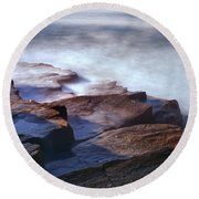 Misty Tide At Monument Cove Round Beach Towel