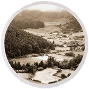 Misty Valley Round Beach Towel