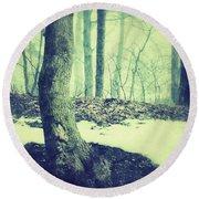 Misty Winter Woods Round Beach Towel