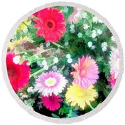 Mixed Asters Round Beach Towel
