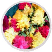 Mixed Celosias In Fall Colors Round Beach Towel