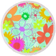 Mixed Flowers Round Beach Towel by Louisa Knight