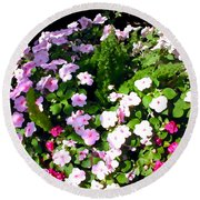 Mixed Impatiens In Dappled Shade Round Beach Towel