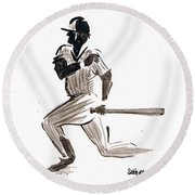 Mlb Base Hit Round Beach Towel