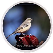Mockingbird Holidays Round Beach Towel