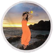 Model In Orange Dress Round Beach Towel