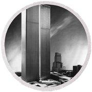 Model Of World Trade Center Round Beach Towel
