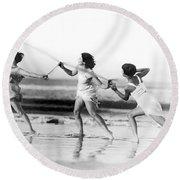 Modern Dance On The Beach Round Beach Towel