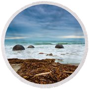 Moeraki Boulder East Coast Of South New Zealand Round Beach Towel