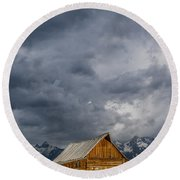 Molton Barn And Approaching Storm Round Beach Towel
