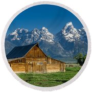 Molton Barn And Grand Tetons Round Beach Towel