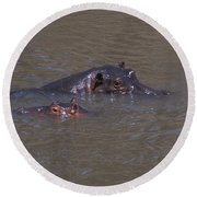 Mom And Baby In The Mara River Round Beach Towel