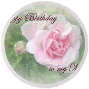 Mom Birthday Greeting Card - Pink Rose Round Beach Towel
