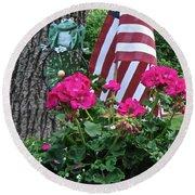 Mom's Pink Geranium  Round Beach Towel