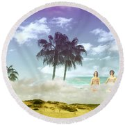 Mom's Tropical Dreams Round Beach Towel