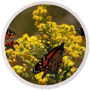 Monarchs On Yellow Round Beach Towel