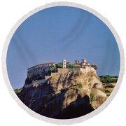 Monastery At Meteora Greece Round Beach Towel
