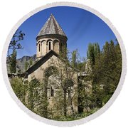 Monastery Of Ishan Round Beach Towel