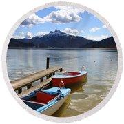 Mondsee Lake Boats Round Beach Towel