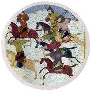 Mongol Battle, C1400 Round Beach Towel