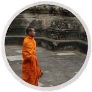 Monk At Ankor Wat Round Beach Towel