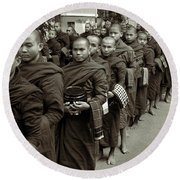 Monks In The Monastery Round Beach Towel