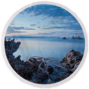 Mono Lake After Sunset Round Beach Towel